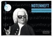 Notenheft quer mit Hilfslinien Bach