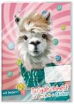 Aufgabenheft farbenfroh mit Stickern Lama