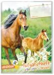 Grundschul Aufgabenheft farbenfroh mit Stickern Pferd