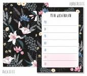 Trendstuff Block A6 Dark Flower Wochenplan