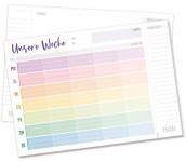 Family Tisch-Block Wochenplan rainbow